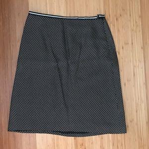 Ann Taylor B & W Silk Polka Dot Skirt Sz 6